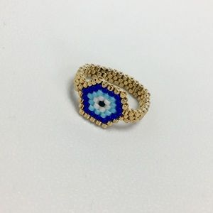 Evil eye seed beaded gold plated ring